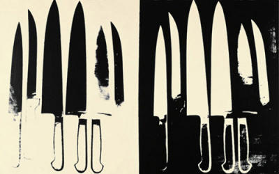 Knives , ca. 1981-82 (silver and black) (Messer)